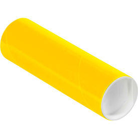 "Colored Mailing Tubes with Caps 2"" x 6"", 0.06"" Thick, Yellow - Pkg Qty 50"