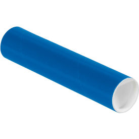 "Colored Mailing Tubes with Caps 2"" x 9"", 0.06"" Thick, Blue - Pkg Qty 50"