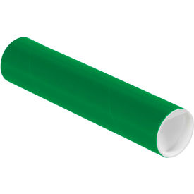"Colored Mailing Tubes with Caps 2"" x 9"", 0.06"" Thick, Green - Pkg Qty 50"