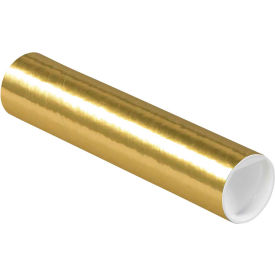 """Colored Mailing Tubes with Caps 2"""" x 9"""", 0.06"""" Thick, Gold - Pkg Qty 50"""