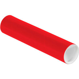 """Colored Mailing Tubes with Caps 2"""" x 9"""", 0.06"""" Thick, Red - Pkg Qty 50"""