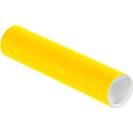 "Colored Mailing Tubes with Caps 2"" x 9"", 0.06"" Thick, Yellow - Pkg Qty 50"