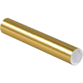 "Colored Mailing Tubes with Caps 2"" x 12"", 0.06"" Thick, Gold - Pkg Qty 50"