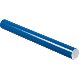"Colored Mailing Tubes with Caps 2"" x 20"", 0.06"" Thick, Blue - Pkg Qty 50"