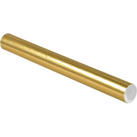"Colored Mailing Tubes with Caps 2"" x 20"", 0.06"" Thick, Gold - Pkg Qty 50"