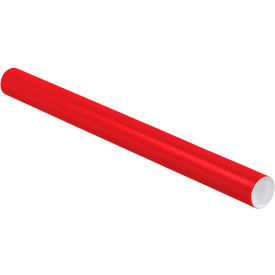 """Colored Mailing Tubes with Caps 2"""" x 24"""", 0.06"""" Thick, Red - Pkg Qty 50"""
