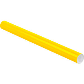 """Colored Mailing Tubes with Caps 2"""" x 24"""", 0.06"""" Thick, Yellow - Pkg Qty 50"""