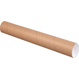 """Mailing Tubes with Caps 3"""" x 9"""", 0.06"""" Thick, Kraft - Pkg Qty 24"""