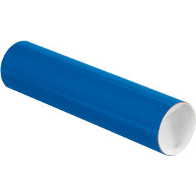 """Colored Mailing Tubes with Caps 3"""" x 12"""", 0.07"""" Thick, Blue - Pkg Qty 24"""
