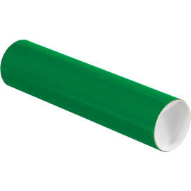 "Colored Mailing Tubes with Caps 3"" x 12"", 0.07"" Thick, Green - Pkg Qty 24"