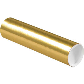 "Colored Mailing Tubes with Caps 3"" x 12"", 0.07"" Thick, Gold - Pkg Qty 24"