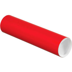 """Colored Mailing Tubes with Caps 3"""" x 12"""", 0.07"""" Thick, Red - Pkg Qty 24"""