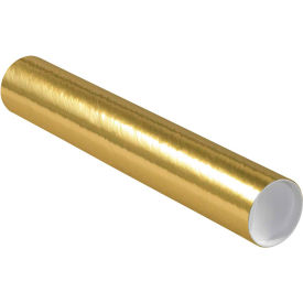 """Colored Mailing Tubes with Caps 3"""" x 18"""", 0.07"""" Thick, Gold - Pkg Qty 24"""