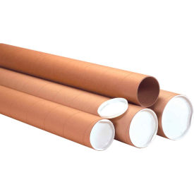 """Heavy-Duty Mailing Tubes with Caps 4"""" x 24"""", 0.125"""" Thick, Kraft - Pkg Qty 12"""