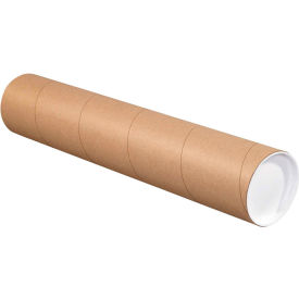 "Mailing Tubes with Caps 4"" x 26"", 0.08"" Thick, Kraft - Pkg Qty 15"