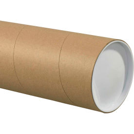 """Jumbo Mailing Tubes with Caps 5"""" x 60"""", 0.125"""" Thick, Kraft - Pkg Qty 15"""
