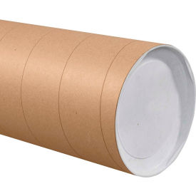 """Jumbo Mailing Tubes with Caps 8"""" x 36"""", 0.125"""" Thick, Kraft - Pkg Qty 10"""