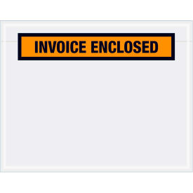 "Panel Face Envelopes - ""Invoice Enclosed"" 7 x 5-1/2"" Orange - 1000/Case"