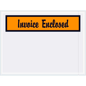"Panel Face Envelopes - ""Invoice Enclosed"" 4-1/2 x 6"" Orange - 1000/Case"