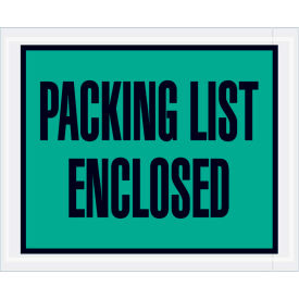 "Full Face Envelopes - ""Packing List Enclosed"" 4-1/2 x 5-1/2"" Green - 1000/Case"