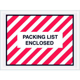 """Full Face Envelopes (Striped) - """"Packing List Enclosed"""" 4-1/2 x 6"""" Red/White - 1000/Case"""