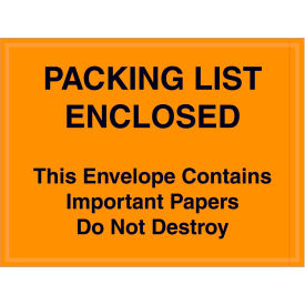 "Full Face Envelopes - ""Packing List/Important Papers Enclosed"" 4-1/2 x 6"" Orange - 1000/Case"