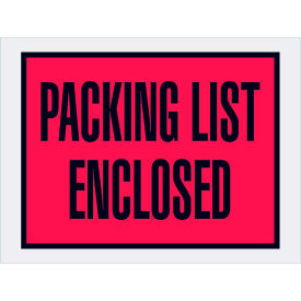 """Full Face Envelopes (Open End) - """"Packing List Enclosed"""" 4-1/2 x 6"""" Red - 1000/Case"""