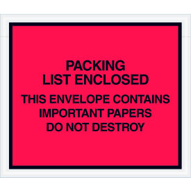"""Full Face Envelopes - """"Important Papers Enclosed"""" 4-1/2 x 6"""" Red - 1000/Case"""