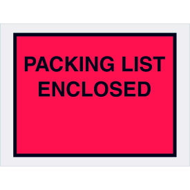 """Full Face Envelopes - """"Packing List Enclosed"""" 4-1/2 x 6"""" Red - 1000/Case"""