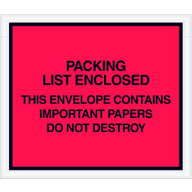 """Full Face Envelopes - """"Important Papers Enclosed"""" 7 x 6"""" Red - 1000/Case"""
