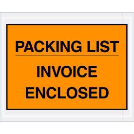 "Full Face Envelopes - ""Packing List/Invoice Enclosed"" 4-1/2 x 5-1/2"" Orange - 1000/Case"