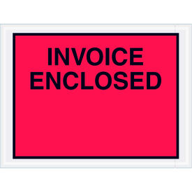 "Full Face Envelopes - ""Invoice Enclosed"" 4-1/2 x 6"" Red - 1000/Case"