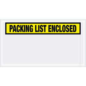 """Panel Face Envelopes - """"Packing List Enclosed"""" 5-1/2 x 10"""" Yellow, 1000/Case"""