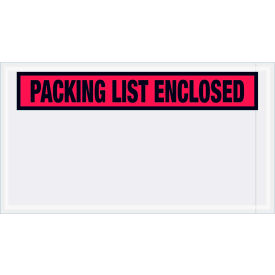 """Panel Face Envelopes - """"Packing List Enclosed"""" 5-1/2 x 10"""" Red, 1000/Case"""