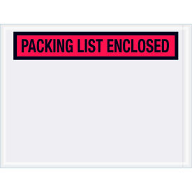 """Panel Face Envelopes - """"Packing List Enclosed"""" 4-1/2 x 6"""" Red, 1000/Case"""