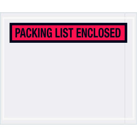 """Panel Face Envelopes - """"Packing List Enclosed"""" 4-1/2 x 5-1/2"""" Red, 1000/Case"""