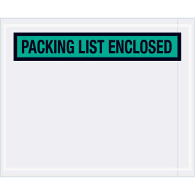 """Panel Face Envelopes - """"Packing List Enclosed"""" 4-1/2 x 5-1/2"""" Green, 1000/Case"""