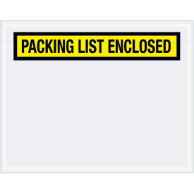 "Panel Face Envelopes - ""Packing List Enclosed"" 5-1/2 x 7"" Yellow, 1000/Case"