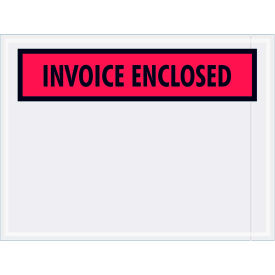"Panel Face Envelopes - ""Invoice Enclosed"" 4-1/2 x 6"" Red - 1000/Case"