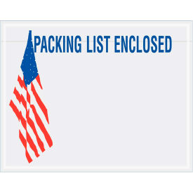"Panel Face Envelopes - USA Flag ""Packing List Enclosed"" 5-1/2 x 7"" Red/White/Blue - 1000/Case"