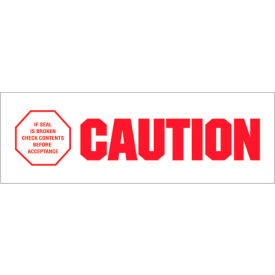 "Tape Logic® Printed Carton Sealing Tape ""Caution - If Seal Is Broken"" 2"" x 110 Yds. Red/White - Pkg Qty 6"