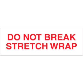 "Tape Logic® Printed Carton Sealing Tape ""Do Not Break Stretch Wrap"" 2"" x 110 Yds. Red/White - Pkg Qty 18"
