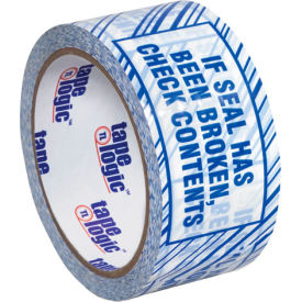 """Tape Logic® Security Tape """"If Seal Has Been Broken, Check Contents"""" 2"""" x 110 Yds. White/Blue - Pkg Qty 6"""