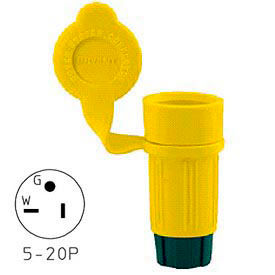 Bryant 15W33BRY Watertight Straight Blade Connector, 20A, 125V, Yellow