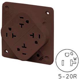 Bryant 21254B QUADPLEX®Receptacle / 20A / 125V / Brown