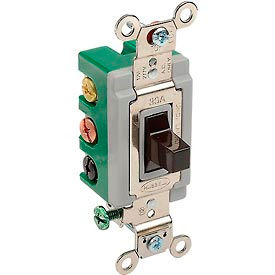 Bryant 3025BRN Toggle Switch, Double Pole, Double Throw, 30A, 120/277V AC, Brown
