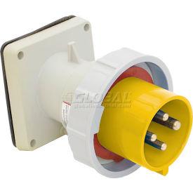 Bryant 316B4W Inlet, 2 Pole, 3 Wire, 16A, 100-130V AC, Yellow