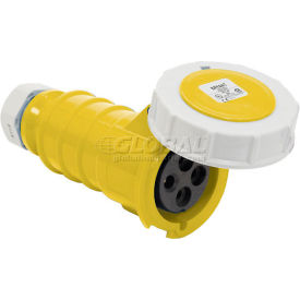 Bryant 330C4W Connector, 2 Pole, 3 Wire, 30A, 125V AC, Yellow