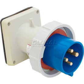 Bryant 430B9W Inlet, 3 Pole, 4 Wire, 30A, 3ph 250V AC, Blue