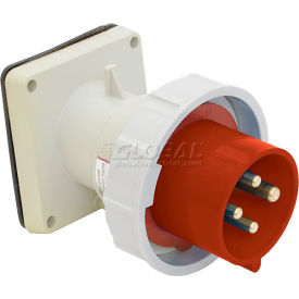 Bryant 432B6W Inlet, 3 Pole, 4 Wire, 32A, 380-415V AC, Red
